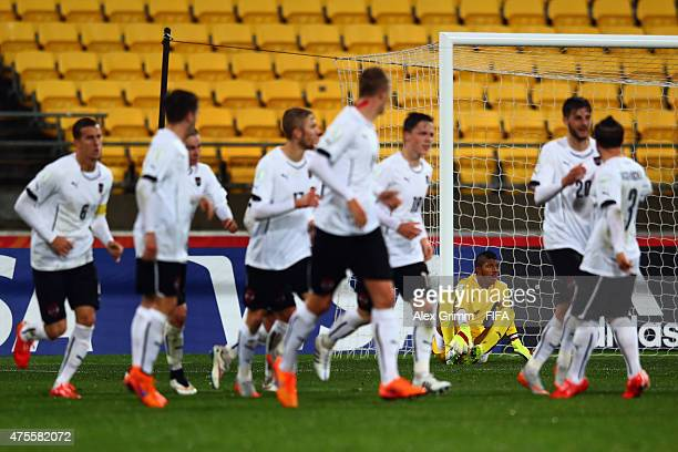 Goalkeeper Jaime de Gracia of Panama reacts as players of Austria celebrate their team's first goal during the FIFA U20 World Cup New Zealand 2015...