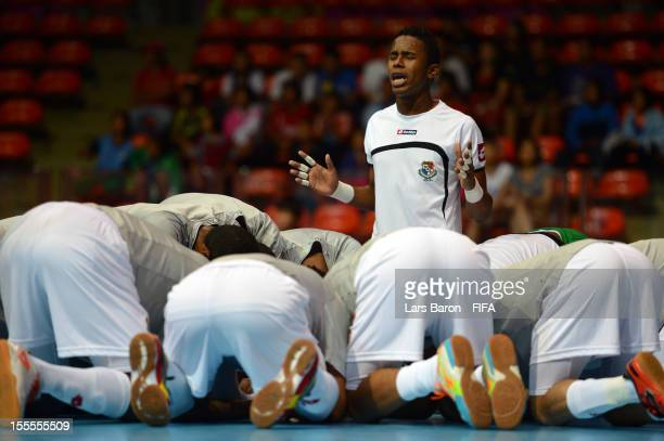 Goalkeeper Jaime Londono of Panama is seen with his team mates prior to the FIFA Futsal World Cup Group B match between Spain and Panama at Indoor...