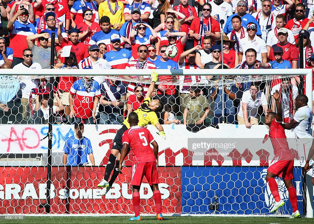 Goalkeeper Jaime Penedo #1 of Panama can't make the save on a corner kick by Michael Bradley #4 of the USA (not in photo) in the first half of their international men's friendly match at StubHub Center on February 8, 2015 in Los Angeles, California. The play resulted in a goal credited to Bradley. The USA defeated Panama 2-0.