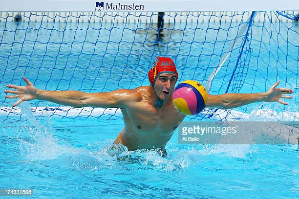Goalkeeper James Clark of Australia attempts to save a shoot at goal during the Men's Water Polo preliminary round match between China and Australia...