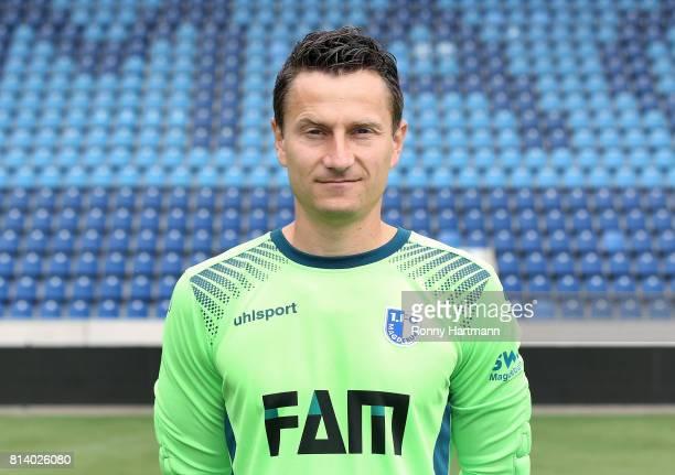 Goalkeeper Jan Glinker poses during the team presentation of 1 FC Magdeburg at MDCCArena on July 13 2017 in Magdeburg Germany