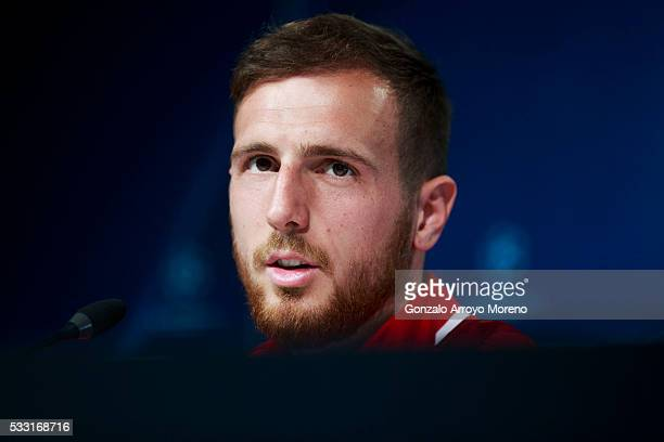 Goalkeeper Jan Oblak of Atletico de Madrid attends a press conference during the Club Atletico de Madrid Open Media Day ahead of the UEFA Champions...