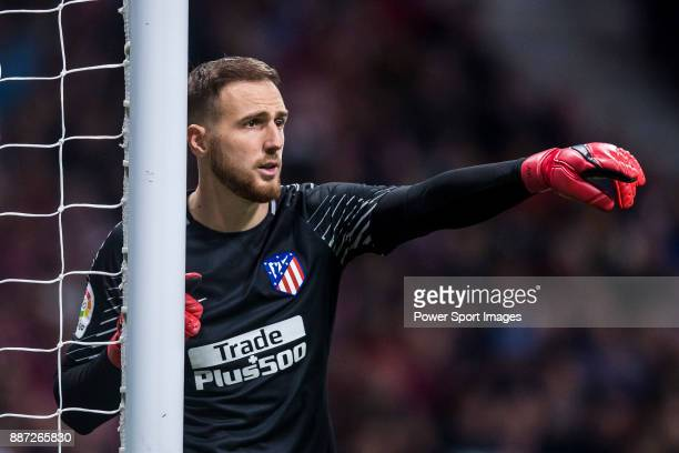Goalkeeper Jan Oblak of Atletico de Madrid gestures during the La Liga 201718 match between Atletico de Madrid and Real Madrid at Wanda Metropolitano...