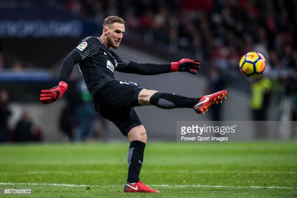 Goalkeeper Jan Oblak of Atletico de Madrid in action during the La Liga 201718 match between Atletico de Madrid and Real Madrid at Wanda...
