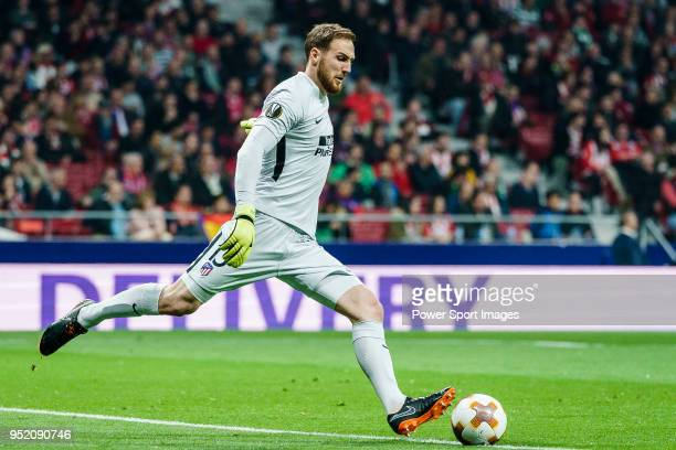 Goalkeeper Jan Oblak of Atletico de Madrid in action during the UEFA Europa League quarter final leg one match between Atletico Madrid and Sporting...