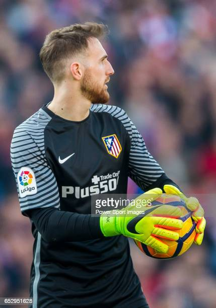 Goalkeeper Jan Oblak of Atletico de Madrid in action during their La Liga match between Atletico de Madrid and FC Barcelona at the Santiago Bernabeu...