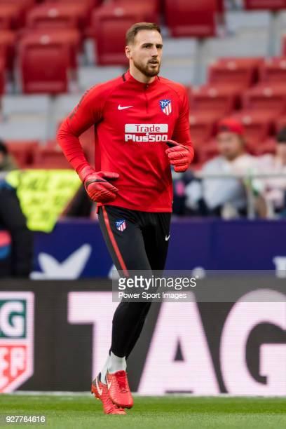 Goalkeeper Jan Oblak of Atletico de Madrid in training prior to the La Liga 201718 match between Atletico de Madrid and Athletic de Bilbao at Wanda...