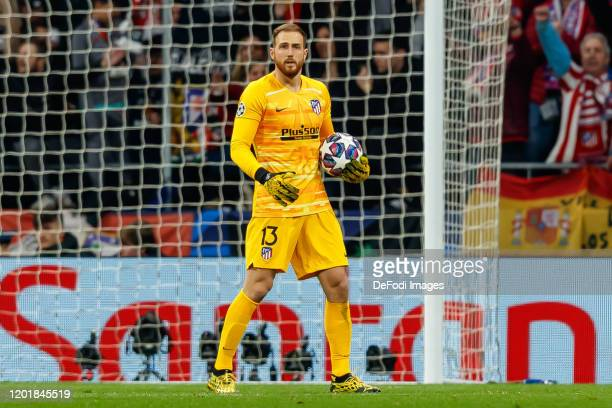 Goalkeeper Jan Oblak of Atletico de Madrid looks on during the UEFA Champions League round of 16 first leg match between Atletico Madrid and...