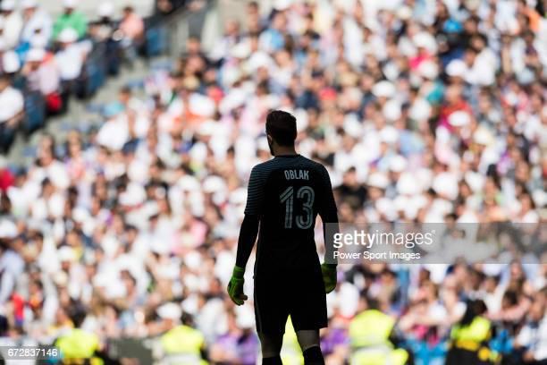 Goalkeeper Jan Oblak of Atletico de Madrid looks on during their La Liga match between Real Madrid and Atletico de Madrid at the Santiago Bernabeu...