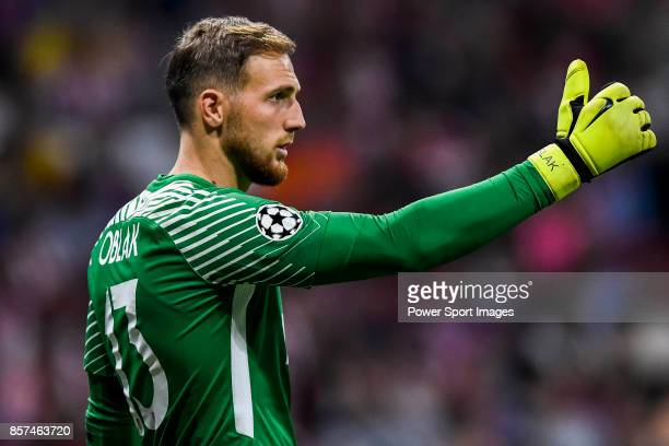 Goalkeeper Jan Oblak of Atletico de Madrid reacts during the UEFA Champions League 201718 match between Atletico de Madrid and Chelsea FC at the...
