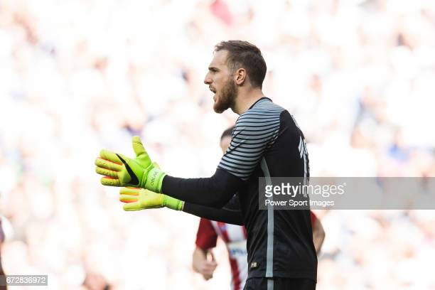 Goalkeeper Jan Oblak of Atletico de Madrid reacts during their La Liga match between Real Madrid and Atletico de Madrid at the Santiago Bernabeu...