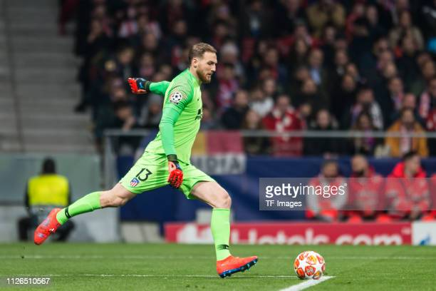 goalkeeper Jan Oblak of Atletico Madrid controls the ball during the UEFA Champions League Round of 16 First Leg match between Club Atletico de...