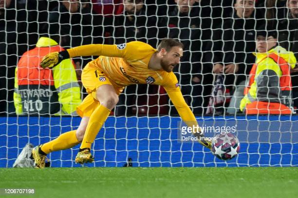 goalkeeper Jan Oblak of Atletico Madrid controls the ball during the UEFA Champions League round of 16 second leg match between Liverpool FC and...
