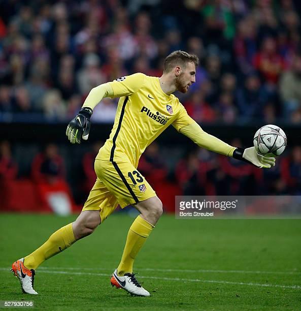 Goalkeeper Jan Oblak of Atletico Madrid kicks a ball during UEFA Champions League semi final second leg match between FC Bayern Muenchen and Club...