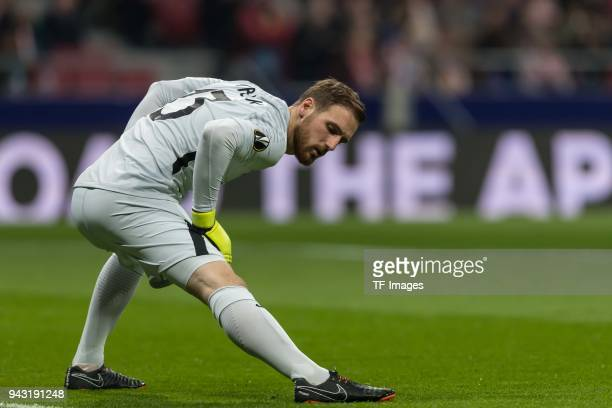 Goalkeeper Jan Oblak of Atletico warms up prior the UEFA Europa League quarter final leg one match between Atletico Madrid and Sporting CP at Wanda...