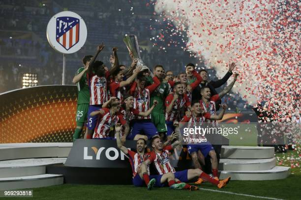 goalkeeper Jan Oblak of Club Atletico de Madrid Diego Godin of Club Atletico de Madrid Koke of Club Atletico de Madrid Antoine Griezmann of Club...