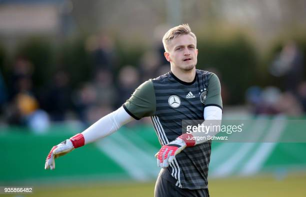Goalkeeper JanChristoph Bartels of Germany warms up prior to the Under 19 Euro Qualifier between Germany and Scotland on March 21 2018 in Lippstadt...