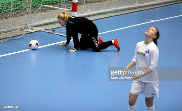 Goalkeeper Janine Schneider of Berlin gets a goal during the DFBFutsalCup half final match between 1FC Koeln vs SV Adler Berlin on March 11 2018 in...