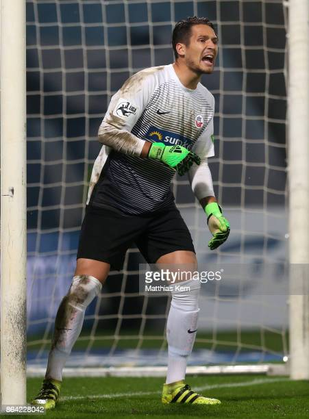 Goalkeeper Janis Blaswich of Rostock gestures during the third league match between FC Hansa Rostock and VfL Osnabrueck at Ostseestadion on October...