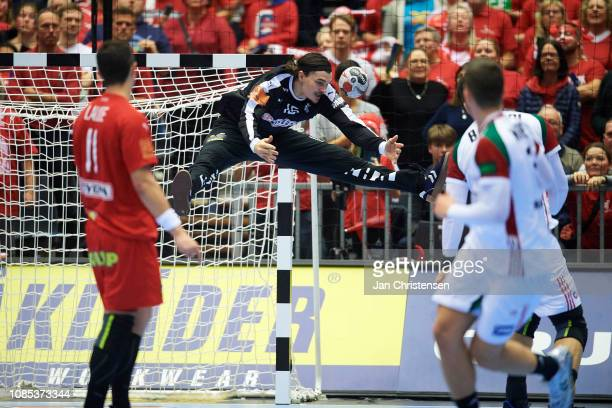 Goalkeeper Jannick Green of Denmark in action during the IHF Men's World Championships Handball match between Denmark and Hungary in Jyske Bank Boxen...
