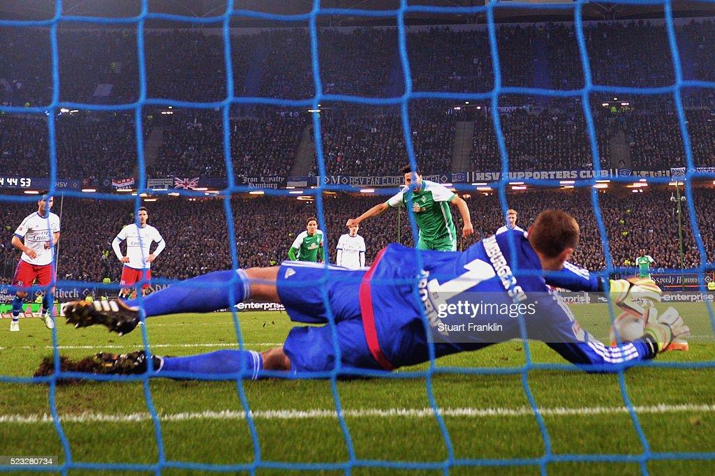 Goalkeeper Jaroslav Drobny of Hamburg saves a penalty from Claudio Pizarro of Bremen during the Bundesliga match between Hamburger SV and Werder Bremen at Volksparkstadion on April 22, 2016 in Hamburg, Germany.