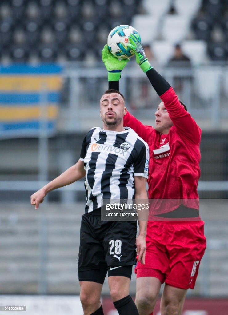 Goalkeeper Jasmin Fejzic of Braunschweig makes a save against Philipp Foerster of Sandhausen during the Second Bundesliga match between SV Sandhausen and Eintracht Braunschweig at BWT-Stadion am Hardtwald on February 11, 2018 in Sandhausen, Germany.