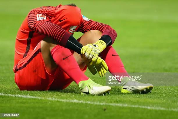 Goalkeeper Jasmin Fejzic of Braunschweig reacts after the Bundesliga Playoff leg 2 match between Eintracht Braunschweig and VfL Wolfsburg at...