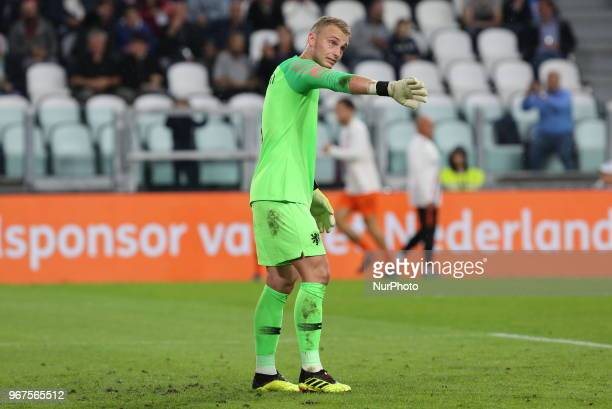 Goalkeeper Jasper Cillessen during the friendly football match between Italy and Holland at Allianz Stadium on June 04 2018 in Turin Italy Final...