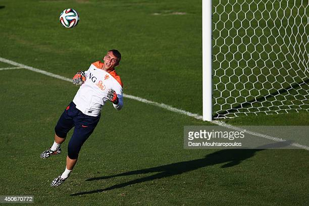 Goalkeeper Jasper Cillessen in action during the Netherlands training session at the 2014 FIFA World Cup Brazil held at the Estadio Jose Bastos...