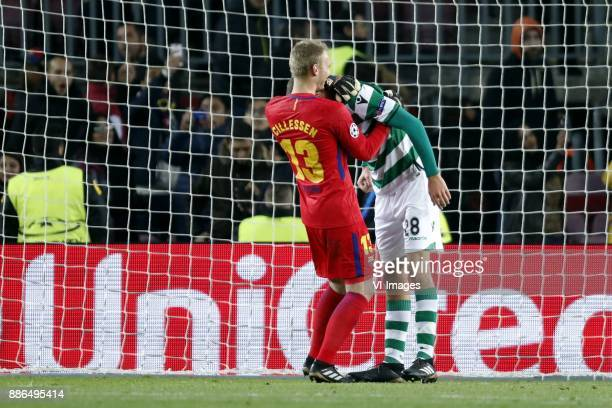 goalkeeper Jasper Cillessen of FC Barcelona Bas Dost of Sporting Club de Portugal during the UEFA Champions League group D match between FC Barcelona...