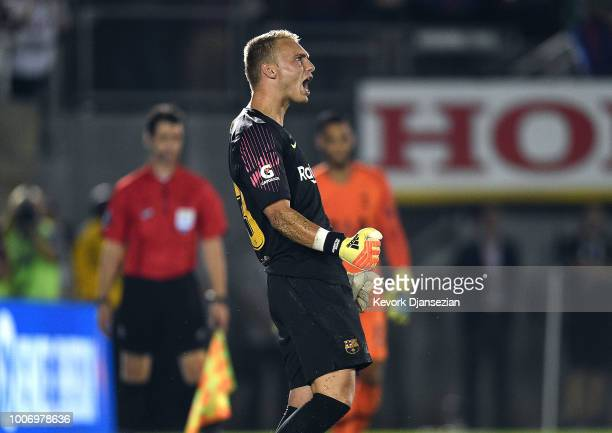 Goalkeeper Jasper Cillessen of FC Barcelona celebrates after a stoping a penalty kick by Anthony Georgiou during the penalty shootout during an...