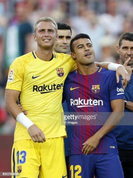 goalkeeper Jasper Cillessen of FC Barcelona Rafinha of FC Barcelona during the Trofeu Joan Gamper match between FC Barcelona and Chapecoense on...