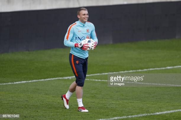 goalkeeper Jasper Cillessen of Holland during a training session prior to the International friendly match between Portugal and The Netherlands at...