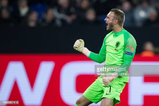 Goalkeeper Jasper Cillessen of Netherlands celebrates his team's second goal during the UEFA Nations League A group one match between Germany and...