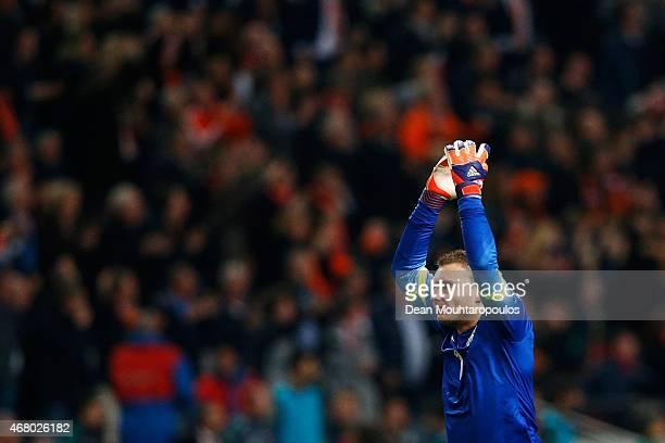 Goalkeeper Jasper Cillessen of Netherlands celebrates the goal in the final minutes by Klaas Jan Huntelaar during the UEFA EURO 2016 qualifier match...