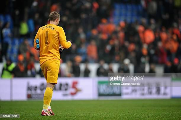 Goalkeeper Jasper Cillessen of Netherlands looks dejected after the International Friendly match between the Netherlands and Japan on November 16...
