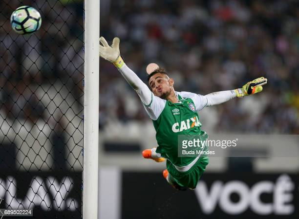 Goalkeeper Jean of Bahia in action during a match between Botafogo and Bahia as part of Brasileirao Series A 2017 at Nilton Santos Olympic Stadium on...