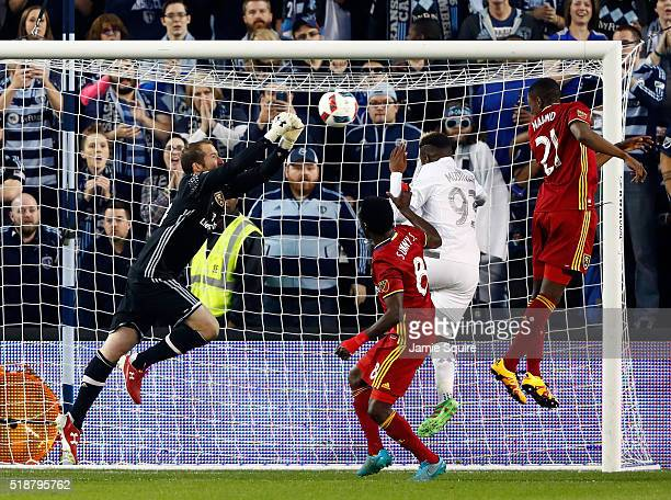 Goalkeeper Jeff Attinella of Real Salt Lake makes a save against the Sporting Kansas City during the Major League Soccer match at Children's Mercy...