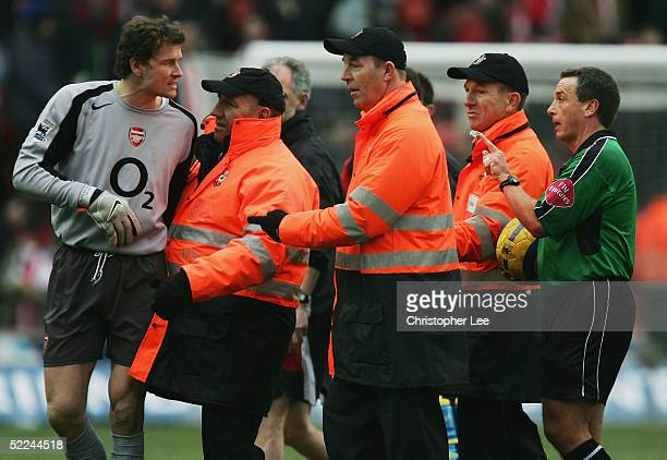 Goalkeeper Jen Lehman of Arsenal argues with the referee Alan Wiley at the end of the game during the Barclays Premiership match between Southampton...