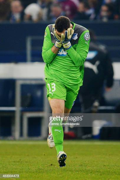 Goalkeeper Jens Grahl of 1899 Hoffenheim celebrates during the DFB Cup match between Schalke 04 and 1899 Hoffenheim at Veltins-Arena on December 3,...