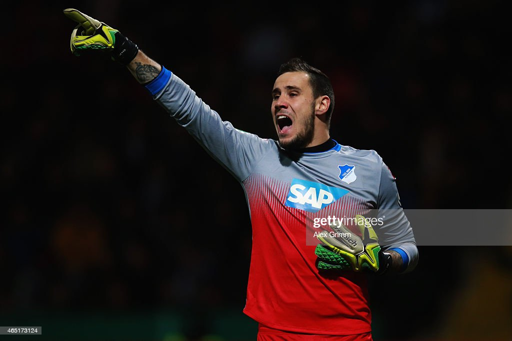 Goalkeeper Jens Grahl of Hoffenheim reacts during the DFB Cup Round of 16 match between VfR Aalen and 1899 Hoffenheim at Scholz Arena on March 3, 2015 in Aalen, Germany.