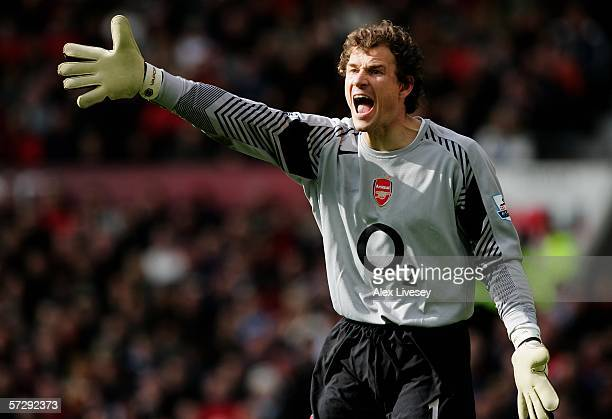 Goalkeeper Jens Lehmann of Arsenal in action during the Barclays Premiership match between Manchester United and Arsenal at Old Trafford on April 9...