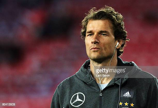 Goalkeeper Jens Lehmann of Germany looks on during the international friendly match between Switzerland and Germany at the St JakobPark on March 26...
