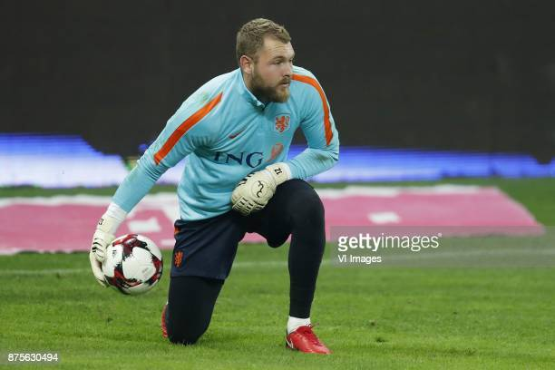goalkeeper Jeroen Zoet of Holland during a training session prior to the friendly match between Romania and The Netherlands on November 13 2017 at...