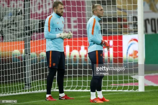 goalkeeper Jeroen Zoet of Holland goalkeeper Jasper Cillessen of Holland during a training session prior to the friendly match between Romania and...