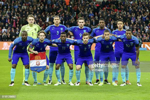 goalkeeper Jeroen Zoet of Holland Jeffrey Bruma of Holland Vincent Janssen of Holland Riechedly Bazoer of Holland Memphis Depay of Holland Jetro...