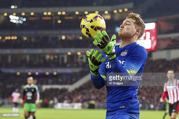 goalkeeper Jeroen Zoet of PSV during the Dutch Eredivisie match between PSV Eindhoven and Feyenoord at the Phillips stadium on December 17 2014 in...