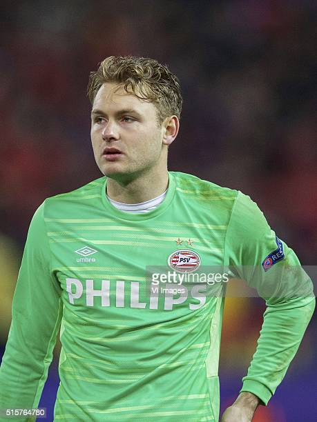 goalkeeper Jeroen Zoet of PSV during the UEFA Champions League Round of 16 Second leg match between Atletico madrid and PSV Eindhoven on March 15...