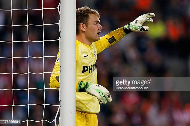 Goalkeeper Jeroen Zoet of PSV in action during the UEFA Champions League Playoff First Leg match between PSV Eindhoven and AC Milan at PSV Stadion on...