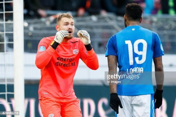 goalkeeper Jeroen Zoet of PSV Jurgen Locadia of PSV during the Dutch Eredivisie match between sbv Excelsior Rotterdam and PSV Eindhoven at Van Donge...